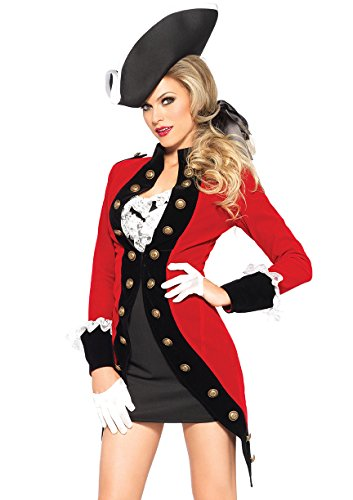 (Leg Avenue Women's 4 Piece Rebel Red Coat Soldier Costume, Red/Black,)