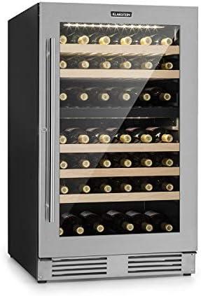 Klarstein Vinovilla Duo 79 Nevera para vinos - 59,5 cm, 189 litros, 79 botellas, independiente o empotrado, Eficiencia energética G, 2 zonas de refrigeración, iluminación LED, Acero inoxidable[Clase de eficiencia energética G]