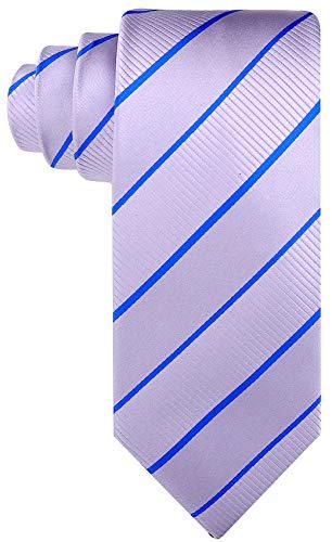 (Striped Ties for Men - Woven Necktie - Gray w/Blue)