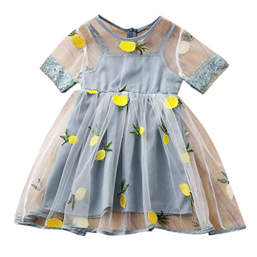 NUWFOR Tutu Bridal Dress Toddler Kids Baby Girls Lemon Pineapple Embroidery Tulle Party Pageant Dress(Light Blue,5-6 Years)]()