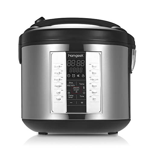 Homgeek Rice Cooker-20 Cup Cooked (10 cup uncooked) Multi-Cooker Food Steamer Slow Cooker with Steam Tray