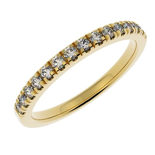 1/4Ct Round Diamond Micro Pave Set Half Eternity Ring, 9k Yellow Gold Size...