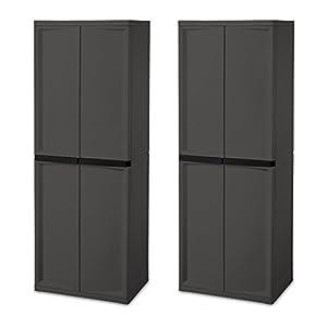 Amazon.com: Sterilite Adjustable 4-Shelf Gray Storage Cabinet With ...