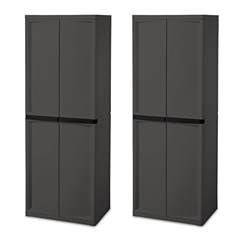 Sterilite Adjustable 4-Shelf Gray Storage Cabinet With Doors, 2 Pack | 01423V01 - Garage Utility Cabinets