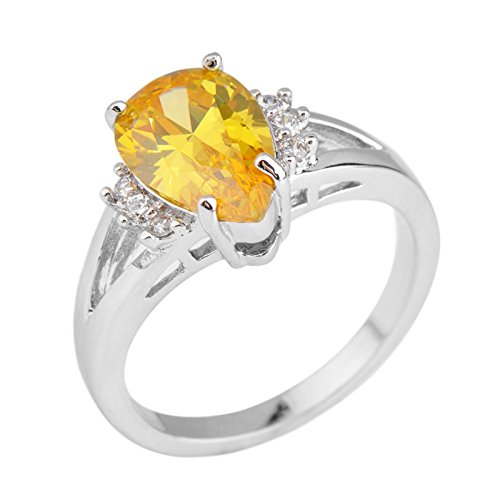 jacob alex ring Yellow Pear&Teardrop Cut lab topaz CZ Wedding Ring 10Kt White Gold Filled Size6 (Cufflinks Topaz Yellow)