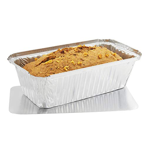 Juvale Loaf Pans with Lid (50 Pack) Disposable Aluminum Foil Bread Baking Tins 8.5 x 2.5 x 4.5 inches (22 Ounce) ()