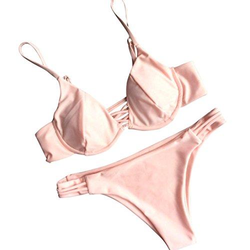 HARRYSTORE 2017 Simple color sólido mujeres Push-Up acolchado Bra Beach Bikini Swimsuit traje conjunto Rosa