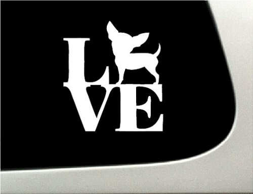 LOVE Chihuahua Dog Puppy Text Vinyl Car Sticker Symbol Silhouette Keypad Track Pad Decal Laptop Skin Ipad Macbook Window Truck Motorcycle (Text Puppy Symbol)