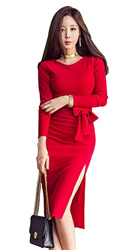 Col Rond Manches Longues Femmes Angcoco Sexy Côté Moulante Fente Rouge Robe Fond