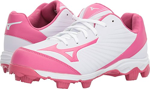 Mizuno (MIZD9) 9-Spike Advanced Finch Franchise 7 Womens Fastpitch Softball Cleat Shoe, White/Pink, 7 B (Wave Spike 9 Volleyball Shoes)