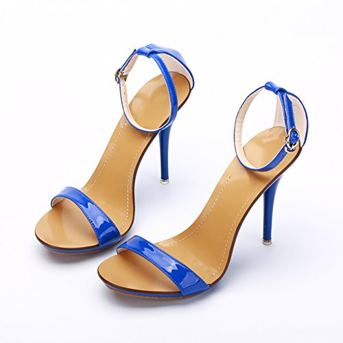 Fereshte Donna Classico Open Toe Ballerino Stiletto Tacco Alto Cinturino Alla Caviglia Sandali Blu