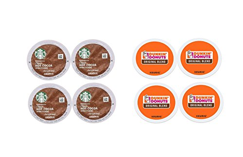 K-Cup Variety Packs Sampler - Starbucks Classic Hot Chocolate & Dunkin Donuts Original Blend from Keurig (4 ct of each) …