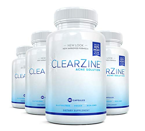 ClearZine Acne Solution - Best Natural Acne Pills for Rapid Acne Treatment and Radiant Skin | Reduce Skin Redness and Breakouts for Clear Skin with Pantothenic Acid and Zinc, 90 Capsules (4 Bottles)