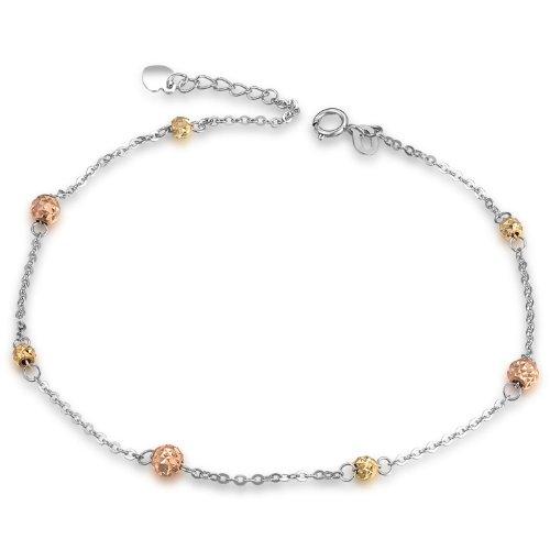 MaBelle - Coupe Diamant Perles Bracelet de Cheville Femmes Trois Couleur Jaune Rose Or Blanc 585/1000 (14 carats) - 23.5 cm