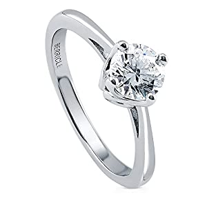 BERRICLE Rhodium Plated Sterling Silver Solitaire Ring Made with Swarovski Zirconia Size 6