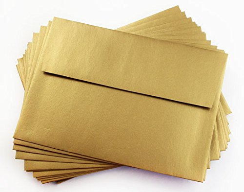 A9 Antique Gold Metallic Straight Flap Envelopes, Stardream 81lb, 25 pack (Stardream Shimmer Envelope)