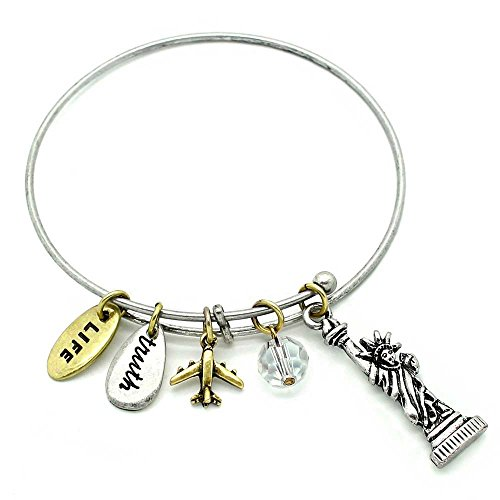 Symbology 'Statue Of Liberty' Love To Travel Charm Bracelet - Two Toned Adjustable Wire Bangle With Brass & Silver Plated Charms And Glass Bead
