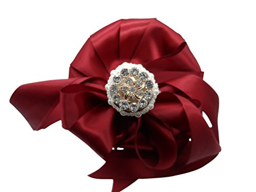 Moleya 7 Inch Customization Romantic Burgundy Wedding Bride Holding Bouquet with Satin Roses and Rhinestones