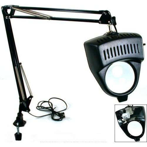 (Clamp on Swing Arm Lighted Magnifying Lamp Hobby Work Desk Table Lamp)