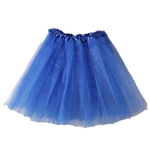 LuckyGirls Femme Ballet Jupe lgant Tutu en Couches Organza Dentelle Mini Jupe Couleur Pure Bleu