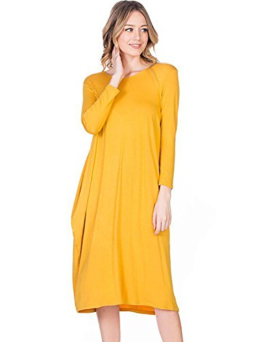 12 4 Yellow XXL Sleeve 3 in Tulip Neck Round S Ami Dress Midi USA Made Hem IqZwPIr