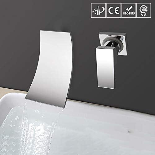 モダンデザインのシングルハンドルウォールは、滝の浴室のシンクの蛇口、シングルレバーハンドル流域ミキサータップ、クローム滝浴槽の蛇口、高流量をマウント
