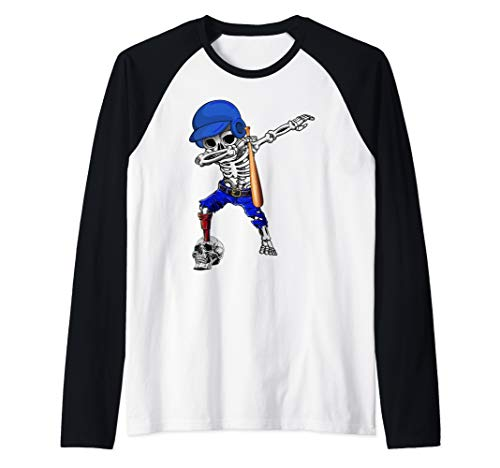 Dabbing Baseball Player Halloween Costume For Men Women Raglan Baseball Tee