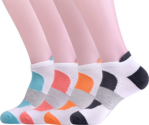 Women's 4 Outdoor Sports White and Colorful Patterned Low Cut Cotton Socks