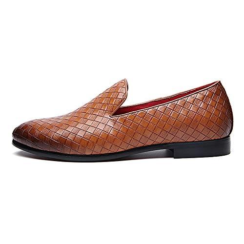 Xujw-shoes, 2018 Scarpe Stringate Basse Vamp maglia uomo chic in tinta unita con un paio di scarpe formali a pedale per abito da sposa (Color : Rosso, Dimensione : 41 EU) Giallo