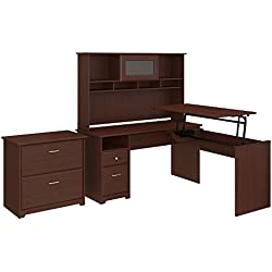 Bush Furniture Cabot 60W 3 Position L Shaped Sit to Stand Desk with Hutch and File Cabinet in Harvest Cherry