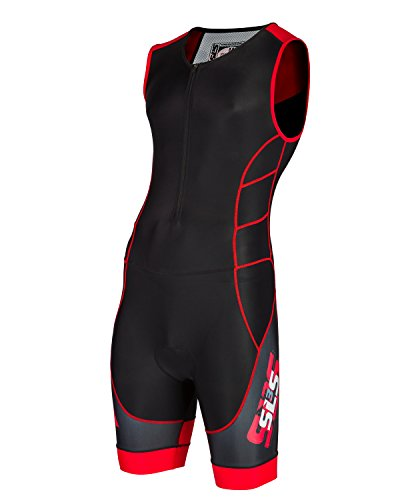 SLS3 Mens CMX Triathlon Tri Race Suit - 1 Pocket Skinsuit Trisuit - great from Sprint to Ironman (Black/Red, - Suits Best Tri