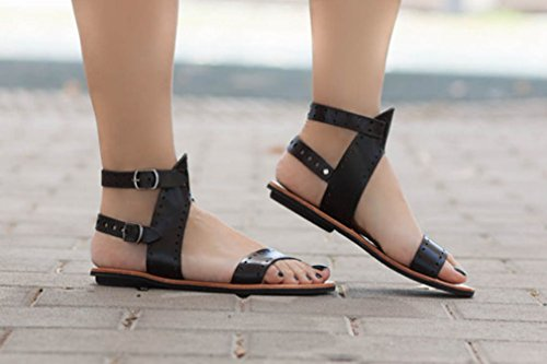 Playa Peep Trabajo Juleya Toe Slingback Mujer 43 Hebilla Antideslizante Sandalias Verano Libre Sandalias Al Zapatos Zapatos Moda Planas 36 Negro Comodidad Romano Plano Casual Aire gwtOq08n