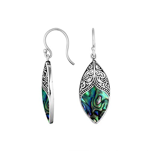 Bali Designs Sterling Silver Marquise Shape Earring with Abalone Shell AE-6195-AB ()