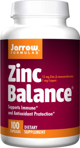 Jarrow Formulas Zinc Balance, 15 milligrams, 100 Capsules. Pack of 3 Bottles