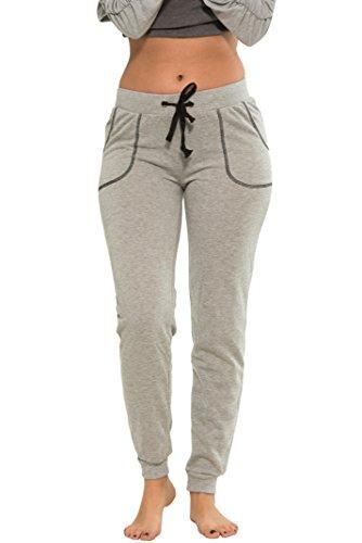 Coco-Limon Women Regular & Plus-Size Jogger Sweatpants , Pocket Stitch Trim,Medium,Heather Grey