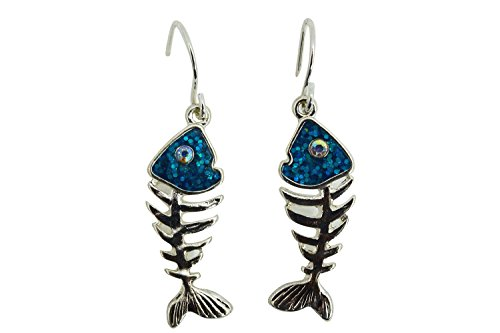 Fish Skeleton Fish Bone Sea Life Dangle Earrings (Silver Fish Bone Earrings)