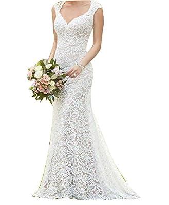 Vivibridal Women's Vintage Full Lace Country Mermaid Wedding Dresses Bridal Gowns