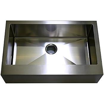 auric sinks 24   farmhouse flat front apron single bowl sink 18 gauge stainless steel 24   apron farmhouse single bowl 16 gauge kitchen sink     amazon com  rh   amazon com