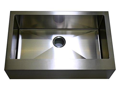 Auric Sinks 24 Farmhouse FLAT Front Apron Single Bowl Sink 18 Gauge Stainless Steel 6SFAR-18-24-SGL