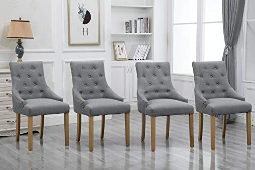 (HomeSailing 4 Comfy Armchairs Dining Room Chairs with Arms Only Grey Fabric Upholstered Kitchen Chairs High Back Button Tufted Padded Side Chairs for Living Room Wood Oak Legs Chairs (Gray Set of 4))