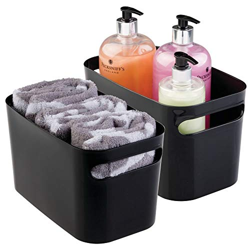 mDesign Deep Plastic Bathroom Vanity Storage Bin with Handles - Organizer for Hand Soap, Body Wash, Shampoo, Lotion, Conditioner, Hand Towel, Hair Brush, Mouthwash - 10 Long, 2 Pack - Black