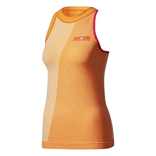 (adidas Women's Stella McCartney Barricade Tank Top - NY White/Radiant Orange/Shock Pink Large)