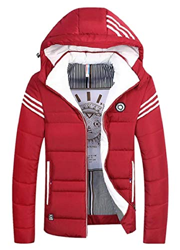 security Men's Puffer Jacket Warm Quilted Hooded Outdoor Padded Down Coat Red