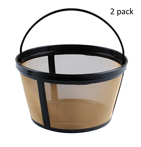 Podoy 2 Pack Reusable 10-12 Cup Coffee Filter Basket-Style Gold Tone Permanent Coffee Filter for Mr. Coffee GTF2-1