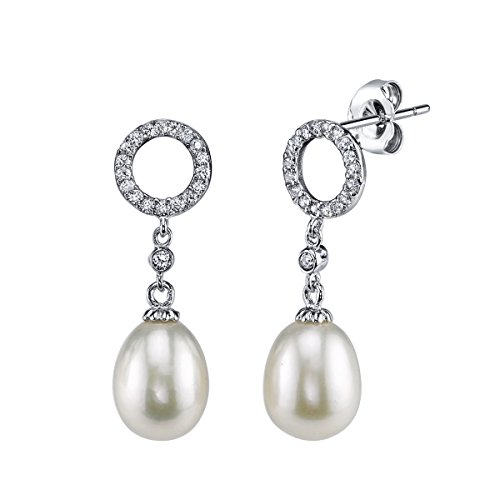 THE PEARL SOURCE 8-9mm Genuine White Freshwater Cultured Pearl Cubic Zirconia Halo Earrings for Women