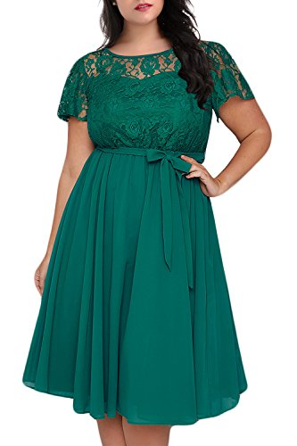 Nemidor Women's Scooped Neckline Floral lace Top Plus Size Cocktail Party Midi Dress (24W, Green)