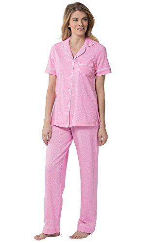 (PajamaGram Women's Pajamas So Soft - Pajamas for Women Cotton, Pink, M, 10-12)