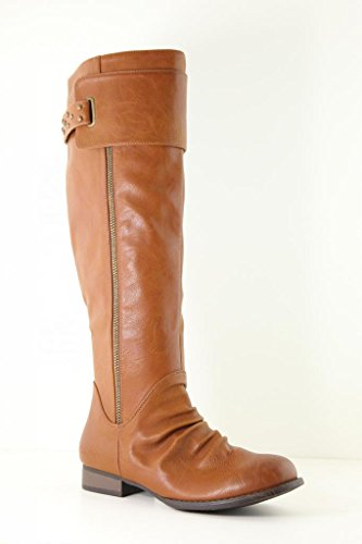 Anna Juno-8 Women Over the Knee boots Rounded toe Studs Decoration Zipper Boots Cognac 5i45pDXR