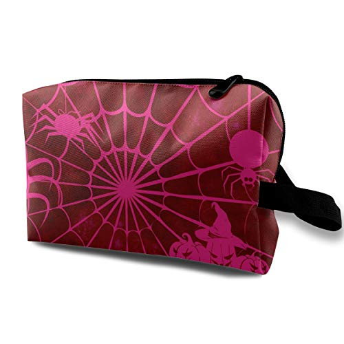 Cute Halloween Pink Spider Web Pumpkin Multi-function Travel Makeup Toiletry Coin Bag Case ()