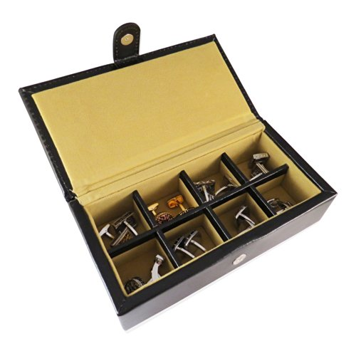 Cuff-Daddy 8 Pair Leather Travel Cufflinks Box with Presentation Box (Leather Mens Cufflinks)